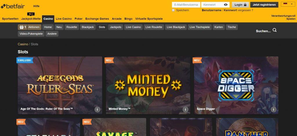 Betfair Casino Spielvorschau